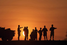 Sunset on Namibia overland tour