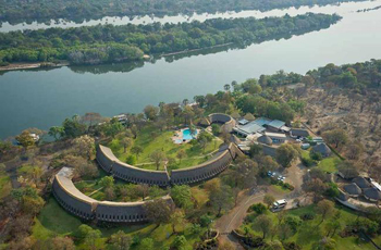 A'Zambezi River Lodge, Victoria Falls from the air