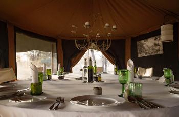 Interior of dining tent
