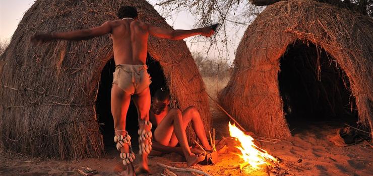 Bushmen doing a traditional dance