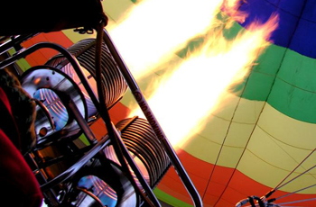 Burners to fill balloon with hot air