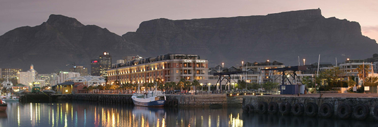 Table Mountain watches over the Cape Grace Hotel, Cape Town, South Africa