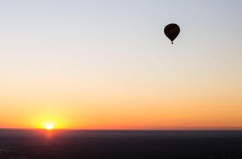 Sunrise launch of the hot air balloon, Chobe, Botswana