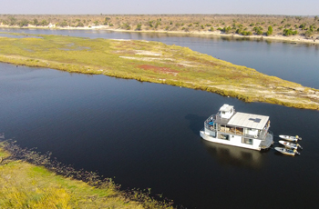The best way to experience the Chobe is on a houseboat