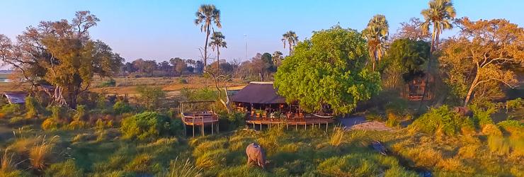 Aerial view Delta Camp, Okavango Delta