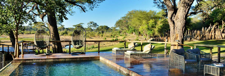 View from the main area at Elephant Valley Lodge, Botswana