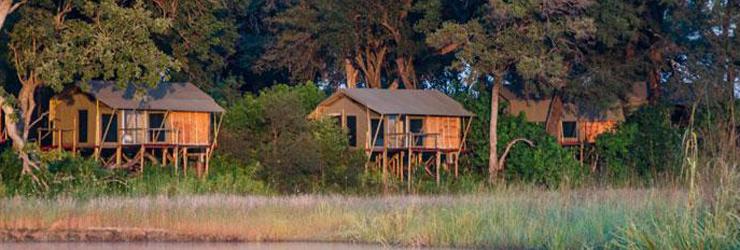 Kazile Island Lodge overlooks the Horseshoe Lagoon