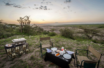 Sunset overlooking Serengeti at Lake Ndutu Luxury Tented Lodge, Tanzania