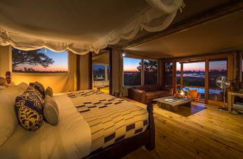 Room interior at Little Vumbura, Botswana