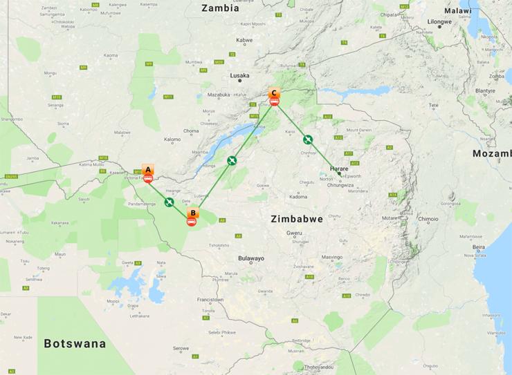 Map Overview - 10 Day Zimbabwe Safari & Victoria Falls