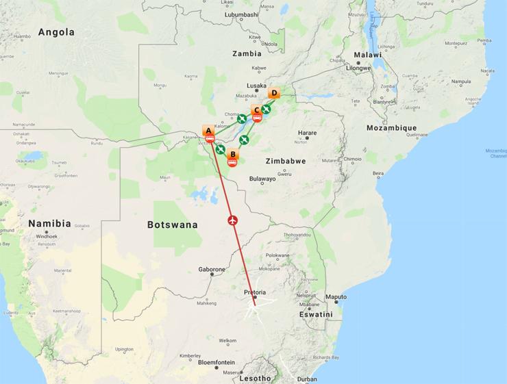 Map Overview - 9 Day Safari & Victoria Falls