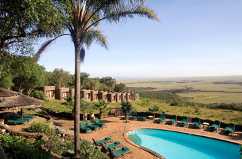 Swimming pool at Mara Serena overlooks the plains