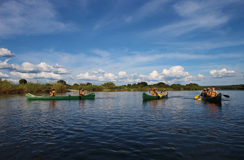 Canoeing on the Zambezi River is just one of the guided activities at Matetsi