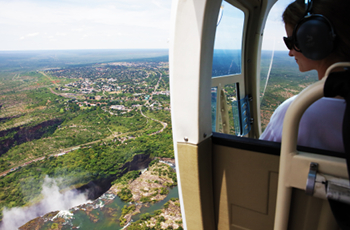 A helicopter flight over the Victoria Falls is an optional extra