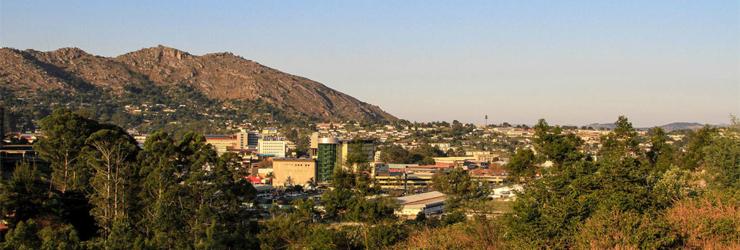 The capital city of Mbabane, Swaziland