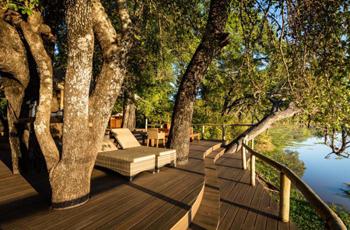 Mfuwe Lodge overlooks a lagoon