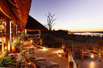 Main area at Ngoma Safari Lodge overlooks the Chobe River