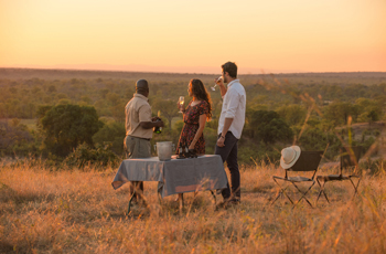 Sundowners at Nkwali Camp, Zambia