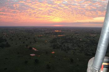 Dawn over the Okavango Delta from a hot air balloon