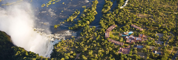 Royal Livingstone Hotel from the air, Zambia