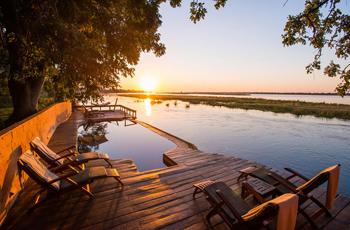 Pool area at Royal Zambezi Lodge overlooking the Zambezi River