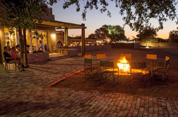 Evening fire at Sossusvlei Lodge, Namibia