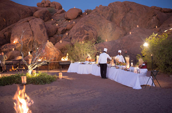 Bush dinner under the stars, Namibia