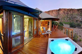 Luxury accommodation at Dwyka Tented Lodge, Sanbona Wildlife Reserve