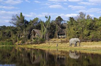 The Savuti Channel runs in from of the Savute Safari Lodge