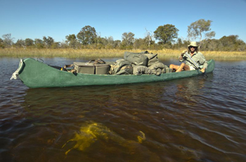 Support canoe on Selinda Safari, Botswana