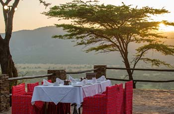 Breakfast table at Serengeti Serena, Tanzania