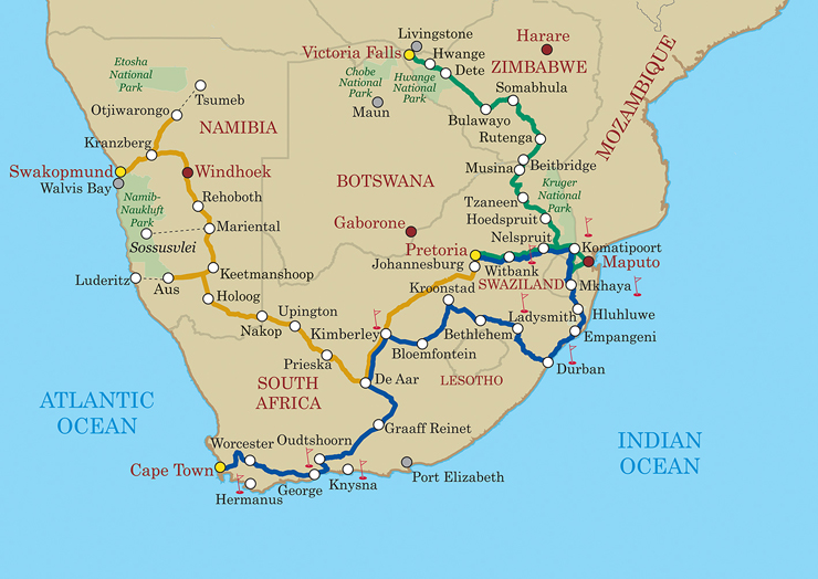 The three different journeys on Shongololo Express