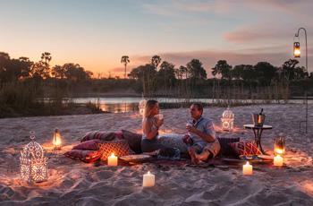 Candlelit dinner, Sindabezi Island, Zambia