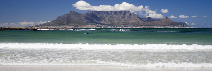 View of Table Mountain and Cape Town, the start of your honeymoon