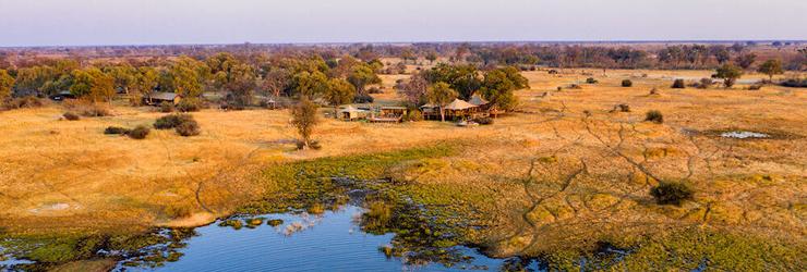 An aerial view of Tuludi, Okavango Delta, Botswana