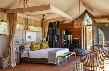 Spacious, elevated tented suites are the accommodation at Tuludi