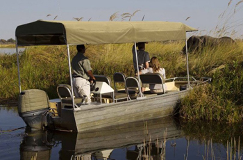 Boat based game viewing, Okavango Delta