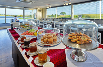 Lunch spread on the Zambezi Queen Houseboat, Chobe River