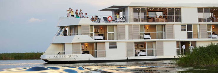 Zambezi Queen Houseboat is on a few on the Chobe River