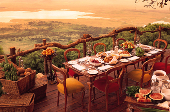 Sweeping views across the crater, Ngorongoro Crater Lodge