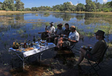 A picnic in the waters of the Selinda Spillway
